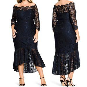 City Chic NEW Estella Lace Off the Shoulder Dress